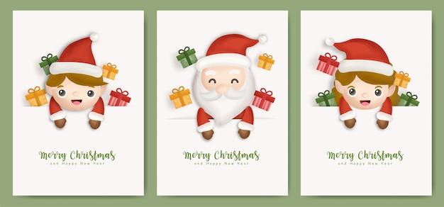 Conjunto de cartões de natal e cartões de ano novo com caixas de presente, duende e papai noel fofo.