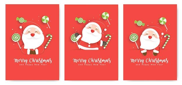 Conjunto de cartões de natal e cartões de ano novo com fofo papai noel e doces.