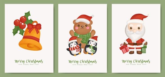 Conjunto de cartões de natal e cartões de ano novo com meias e luvas para cartão.