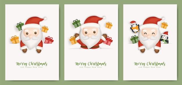 Conjunto de cartões de natal e cartões de ano novo com o lindo papai noel e caixas de presente.