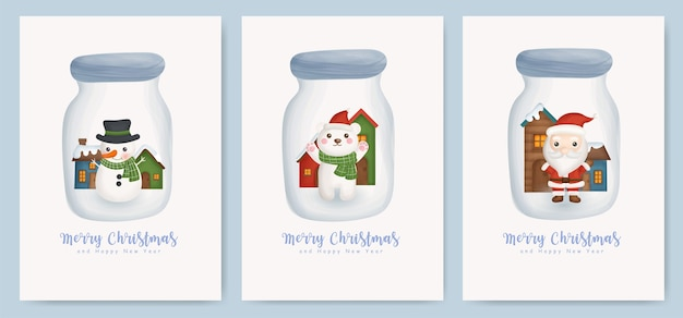 Conjunto de cartões de natal e cartões de ano novo com o lindo papai noel, urso e boneco de neve em uma jarra.