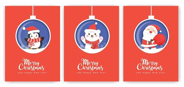 Conjunto de cartões de natal e cartões de ano novo com um lindo papai noel e amigos.