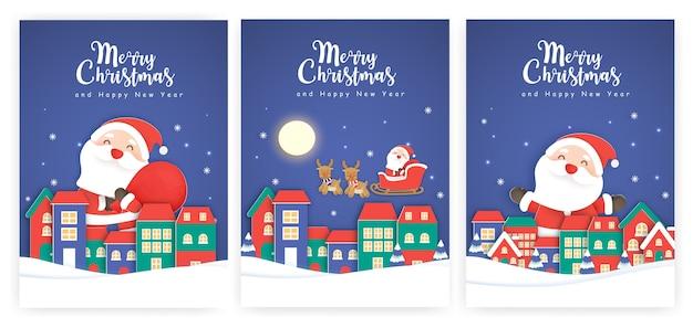 Conjunto de cartões de natal e cartões de ano novo com um lindo papai noel na aldeia de neve.
