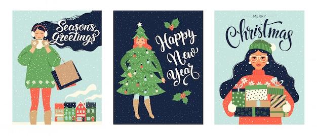 Conjunto de cartões de natal e modelos de feliz ano novo.