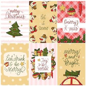 Conjunto de cartões de natal e pôster
