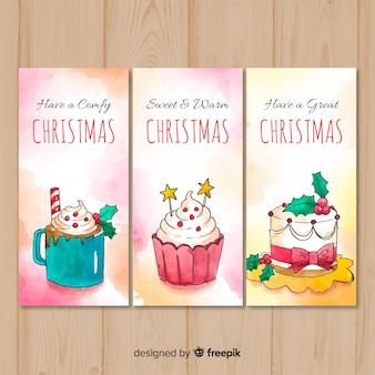 Conjunto de cartões de natal em aquarela