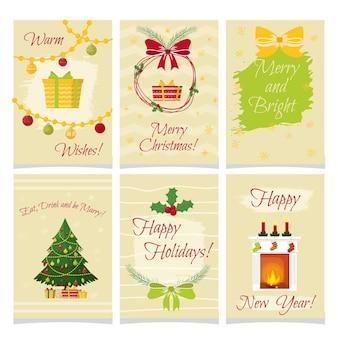 Conjunto de cartões de natal em estilo cartoon