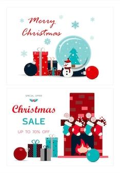 Conjunto de cartões de natal ilustração vetorial de uma grande venda de natal aconchegante lareira com livros no ...