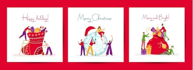 Conjunto de cartões de natal ou ano novo - pequenos celebrando pessoas e duendes do natal com presentes de natal