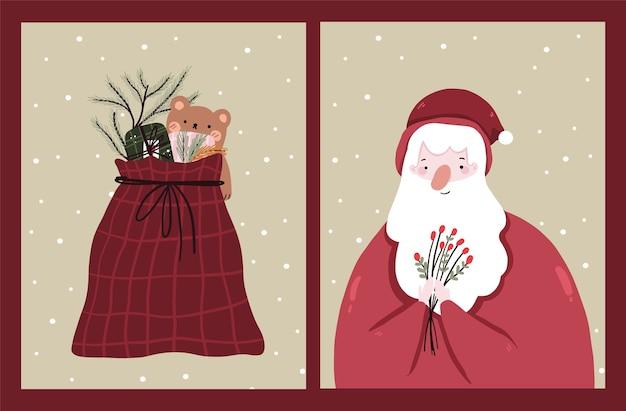 Conjunto de cartões de natal para a celebração do feriado de natal
