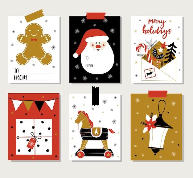 Conjunto de cartões de natal.