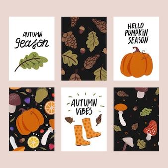 Conjunto de cartões de outono bonitos com texto escrito à mão. lindos pôsteres com abóbora, cogumelos e outros elementos de outono