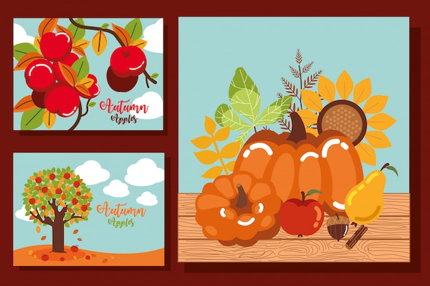 Conjunto de cartões de outono com decoração