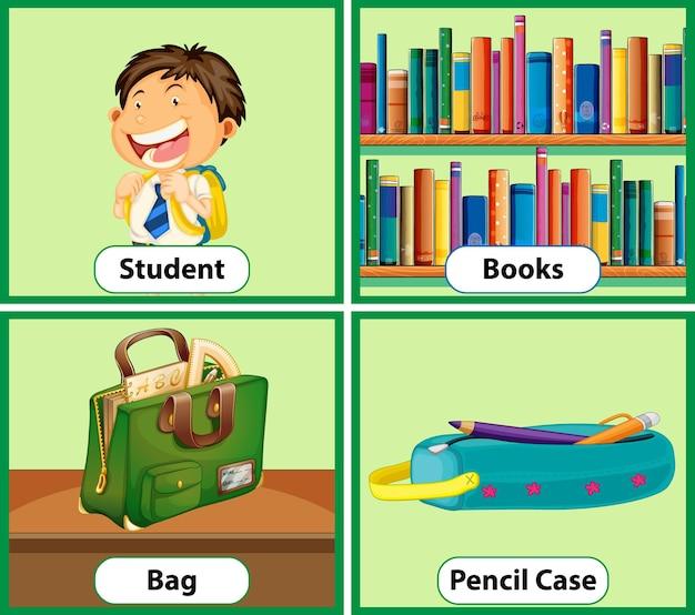 Conjunto de cartões de palavras educacionais em inglês com objetos escolares