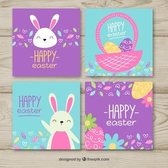 Conjunto de cartões de páscoa azul e roxo