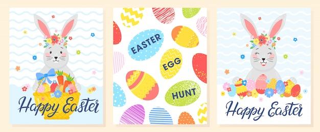 Conjunto de cartões de páscoa criativos. mão desenhada letras com ovos, coelhinho fofo e flores