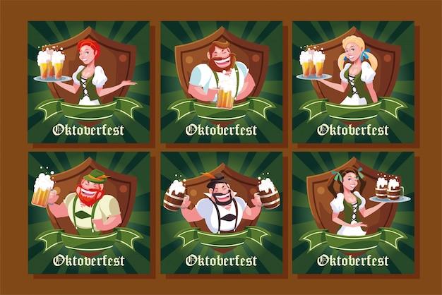 Conjunto de cartões de pessoas vestidas com roupas tradicionais alemãs