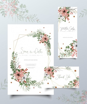 Conjunto de cartões de pintura floral em aquarela.