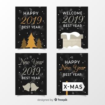 Conjunto de cartões de prata de ano novo