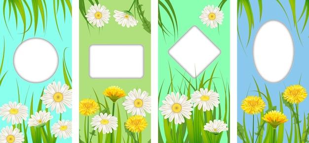 Conjunto de cartões de primavera com flores florais, leão, camomilas