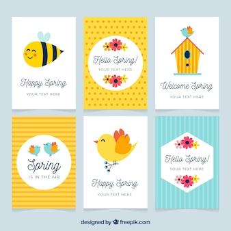 Conjunto de cartões de primavera de seis