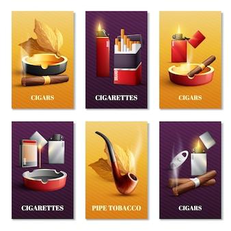 Conjunto de cartões de produtos de tabaco