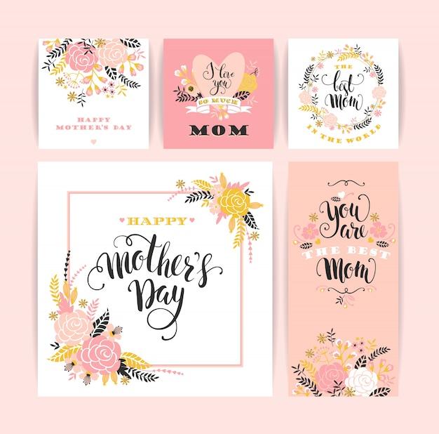 Conjunto de cartões de saudação de letras felizes do dia das mães com flores.