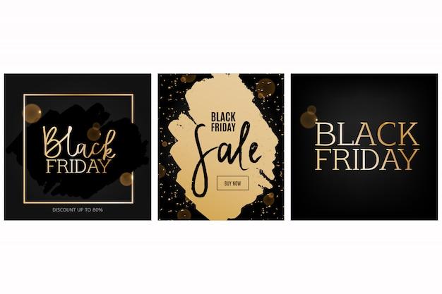 Conjunto de cartões de sexta-feira negra.