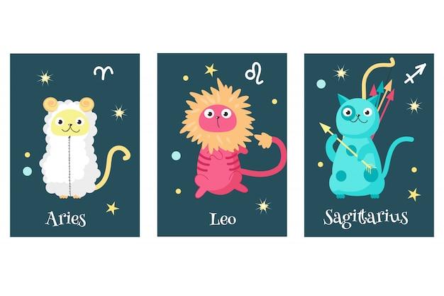 Conjunto de cartões de signo do zodíaco astrologia gato
