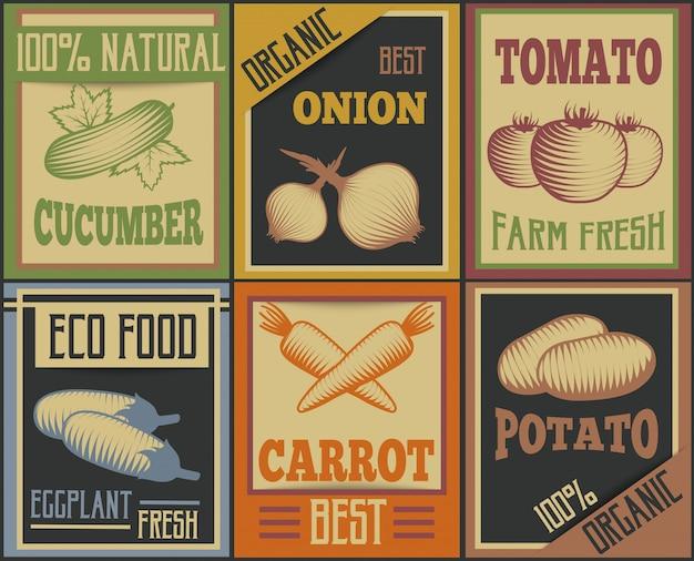 Conjunto de cartões de vegetais vintage