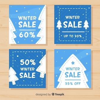 Conjunto de cartões de venda de inverno mão desenhada