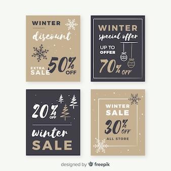 Conjunto de cartões de venda de inverno plana