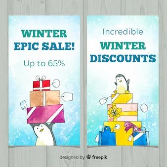 Conjunto de cartões de venda de inverno