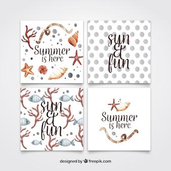 Conjunto de cartões de verão aquarela