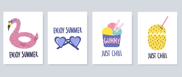 Conjunto de cartões de verão bonitos em um fundo branco, estilo cartoon. desenho à mão.