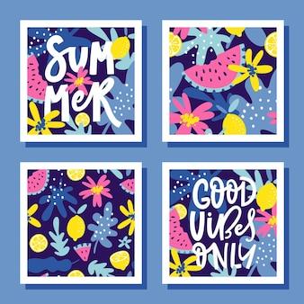 Conjunto de cartões de verão brilhante com limões, melancias, folhas, flores e texto escrito à mão.
