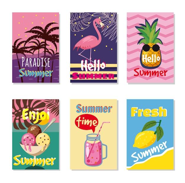 Conjunto de cartões de verão brilhante. lindos pôsteres de verão