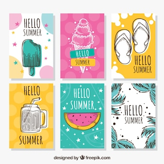 Conjunto de cartões de verão com elementos de férias