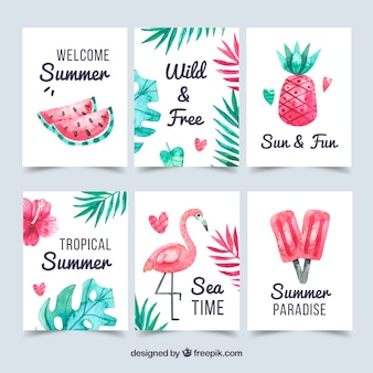 Conjunto de cartões de verão com elementos de praia