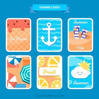 Conjunto de cartões de verão com elementos planos