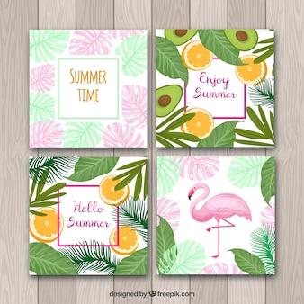 Conjunto de cartões de verão com plantas e frutas padrão