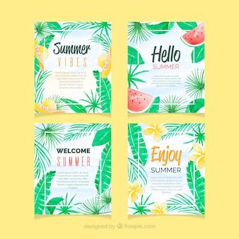 Conjunto de cartões de verão com textura de aquarela
