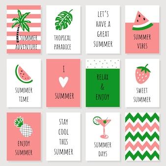 Conjunto de cartões de verão fofos em estilo infantil