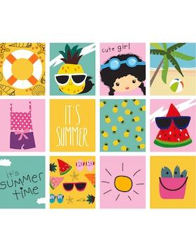 Conjunto de cartões de verão fofos