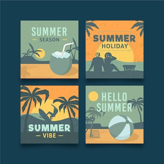 Conjunto de cartões de verão