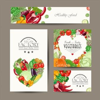 Conjunto de cartões de vetor com legumes