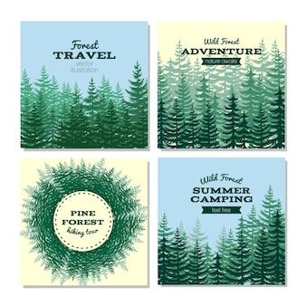 Conjunto de cartões de viagem na floresta