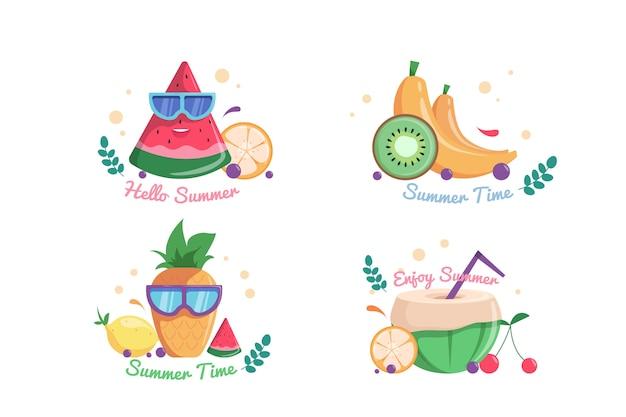 Conjunto de cartões de vibrações de verão brilhante com frutas frescas.