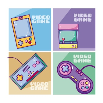 Conjunto de cartões de videogame retrô
