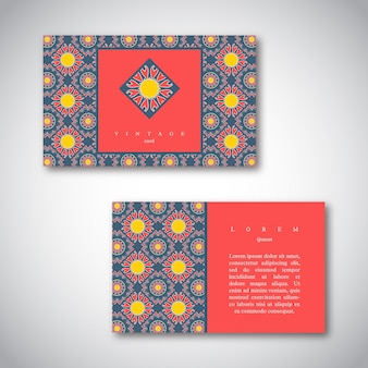 Conjunto de cartões de visita com mão desenhada mandala.